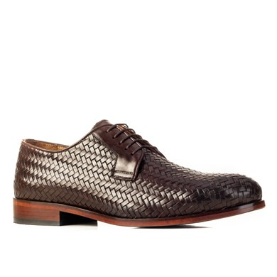 Cabani Stout Leather Injection Sole Knit Detailed Lace-Up Mens Shoes 61322